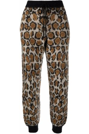 ROTATE Rhea leopard-knit joggers