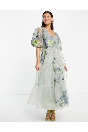 ASOS EDITION ASOS EDTION tiered wrap dress in embroidered organza-Grey