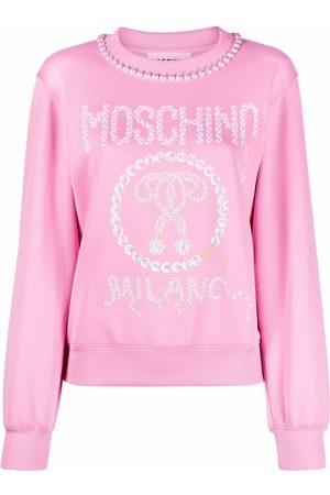 Moschino Mulher Vestidos Estampados - Logo-print pearl-embellished sweatshirt dress
