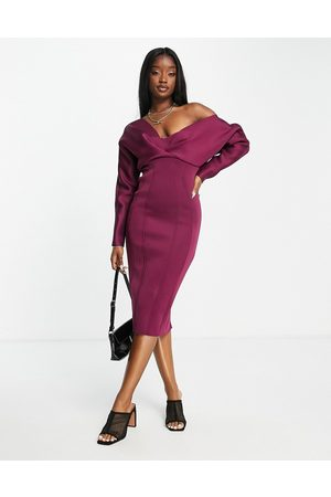 ASOS Mulher Vestidos Lápis - Fallen shoulder super seamed pencil skirt midi dress in berry-Multi