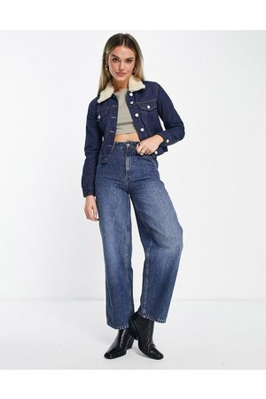 French Connection Mulher Casacos - Palmira cropped denim jacket with detachable wool collar in indigo denim-Blue