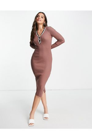 Morgan Knitted high neck dress with stripe detail in brown