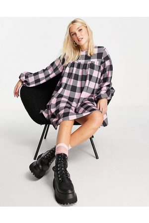 ASOS DESIGN Oversized long sleeve smock dress with tie back in large pink gingham print