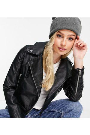 Miss Selfridge Petite faux leather biker jacket in black