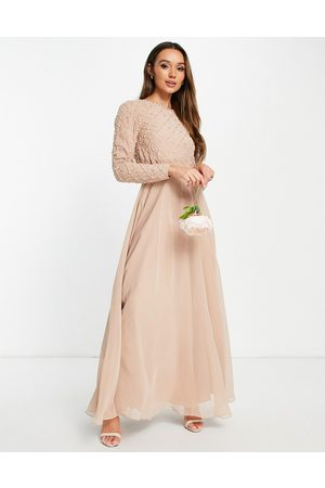 ASOS DESIGN Bridesmaid maxi dress with long sleeve embellishment & tulle skirt in blush-Pink