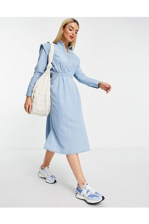 Selected Femme midi dress with shoulder detail and tie waist in denim blue