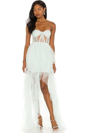 For Love & Lemons X REVOLVE Bustier Hi Low Gown in - Mint. Size L (also in S, XS, M, XL).