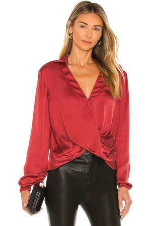 JONATHAN SIMKHAI Jackie Blouse in - Red. Size L (also in XS, S, M).