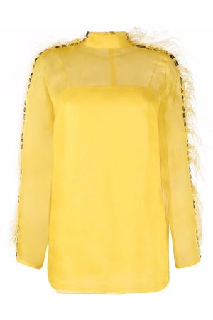 Emilio Pucci Feather-trim silk blouse