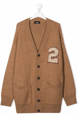 Dsquared2 TEEN embroidered badge textured-knit cardigan