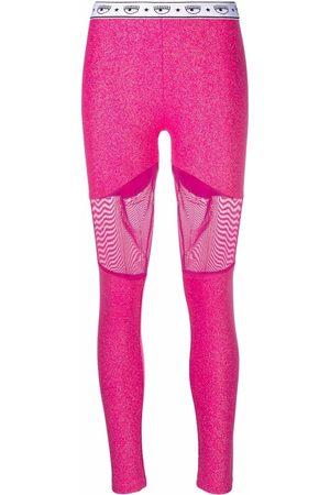 Chiara Ferragni Mulher Calças - Logomania panelled leggings