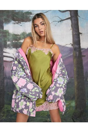 ASOS DESIGN Lace insert mini satin slip in khaki-Green