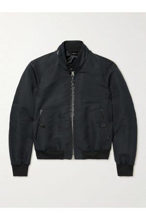 TOM FORD Homem Casacos de Pele - Leather-Trimmed Cotton and Silk-Blend Poplin Harrington Jacket