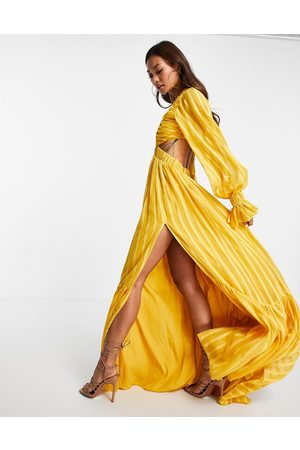 ASOS DESIGN Plunge maxi dress with cut out detail-Yellow
