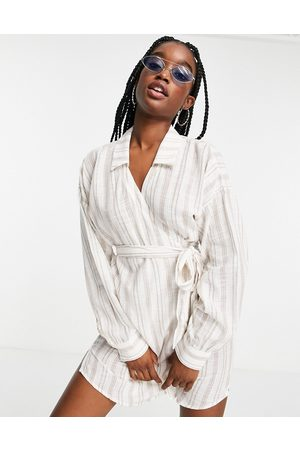 ASOS DESIGN Tie ruched beach shirt dress in natural stripe-Multi