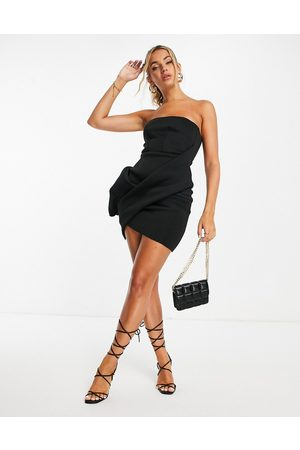 ASOS DESIGN Mulher Vestidos de Festa - Bandeau tuck bodycon mini dress in black-Multi