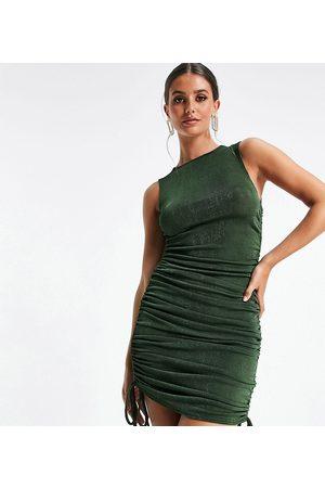Club L London Mulher Vestidos de Festa - Ruched side detail mini dress in in khaki-Green
