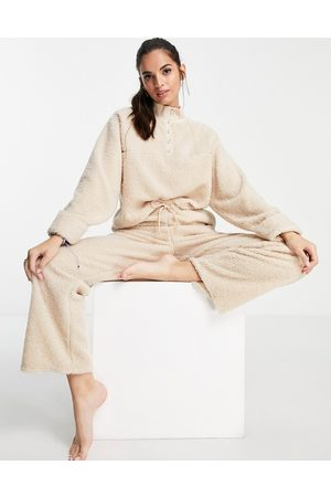 ASOS Lounge mix & match borg sweat with pearl detail in beige-Neutral