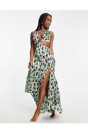 ASOS Mulher Vestidos Compridos - Cut out maxi beach dress in khaki animal-Multi