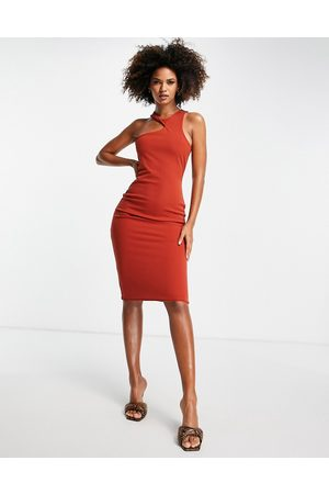 Club L Mulher Vestidos de Festa - Cut out neck detail midi dress in orange
