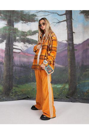 Damson Madder Mulher Polares - Recycled polyester check fleece overshirt jacket in orange