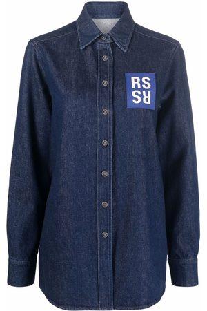RAF SIMONS Mulher Ganga - Logo patch denim shirt
