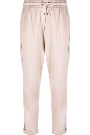 Brunello Cucinelli Mulher Calças - Contrast-trim silk-blend track pants