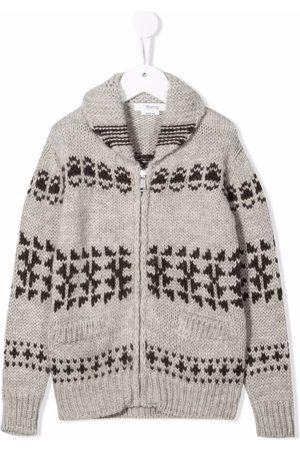 BONPOINT Patterned-intarsia-knit zipped cardigan