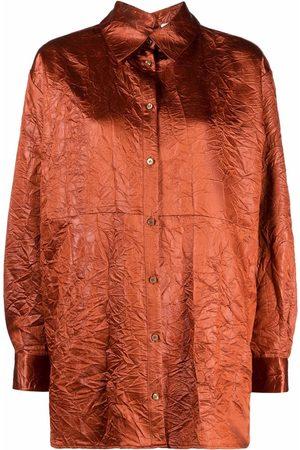 Msgm Off-shoulder textured shirt
