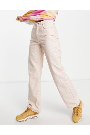 The Ragged Priest High waisted baggy jeans in pink checkerboard