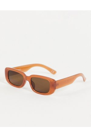 ASOS Homem Óculos de Sol - Mid rectangle sunglasses in brown with tinted lens
