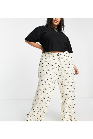 Native Youth High waist pleated front very wide leg trousers in panda party print-Neutral