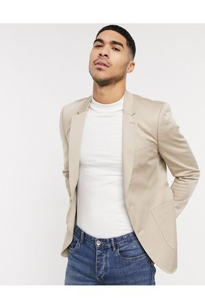 ASOS Wedding skinny blazer in stone cotton-Neutral