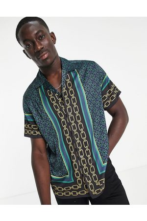 ASOS Relaxed revere shirt in satin with border print-Black