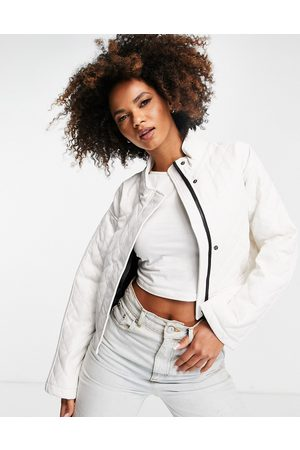 ASOS Quilted faux leather cropped jacket in cream-White
