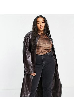 ASOS ASOS DESIGN Curve crinkle faux leather trench coat in oxblood-Red