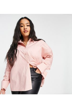 PUBLIC Mulher Casual - Oversized shirt pocket detail co ord in peach-Orange