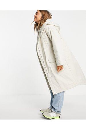 ASOS Waterfall parka coat in cream-White