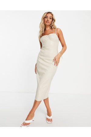 Missguided Mulher Vestidos de Festa - Bodycon dress in cream faux leather-Brown