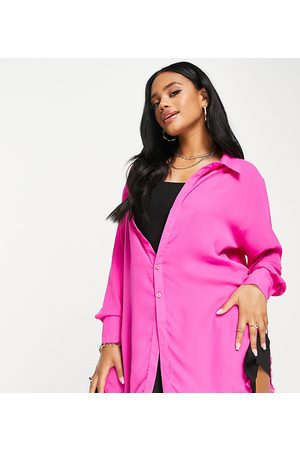 AsYou Mulher Vestidos Casual - Sheer shirt dress with frayed hem in pink