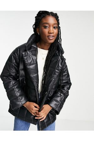 Monki Faux leather quilted jacket in black