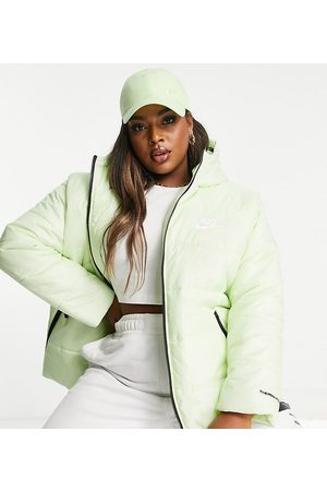 Nike Mulher Casacos de Inverno - Plus classic padded jacket with hood in lime green-Yellow