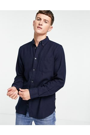 French Connection Long sleeve plain flannel shirt in navy
