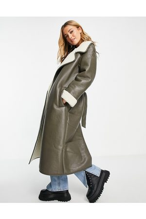 ASOS Faux leather borg bonded belted maxi in khaki-Neutral