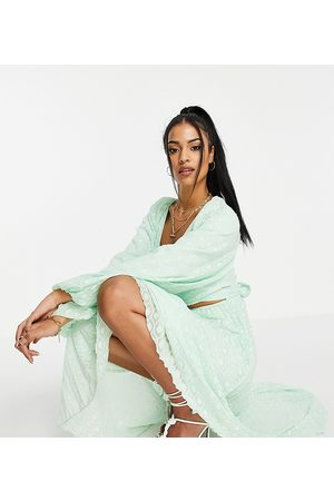 ASOS ASOS DESIGN Tall tie wrap around pleated midi dress in dobby in mint green