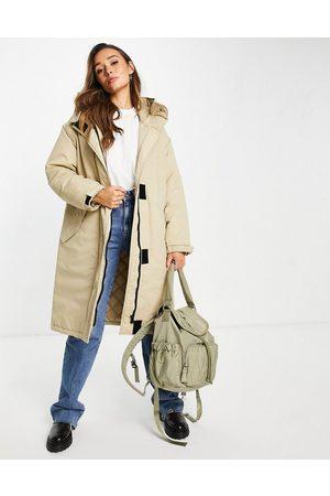 ASOS Mulher Parkas - Oversized parka coat in stone-Neutral