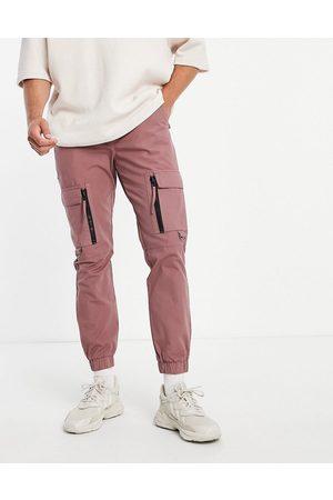 Topman Homem Calças Cargo - Skinny cargo trousers with zip detail in pink