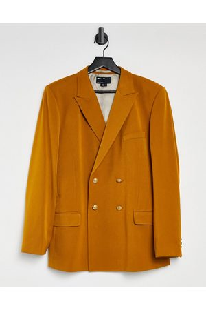 ASOS Wedding skinny double breasted blazer in tobacco-Brown