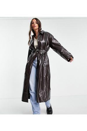 ASOS ASOS DESIGN Tall crinkle faux leather trench coat in oxblood-Red