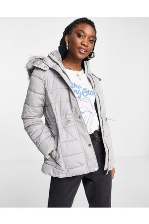 New Look Hooded puffer jacket in grey